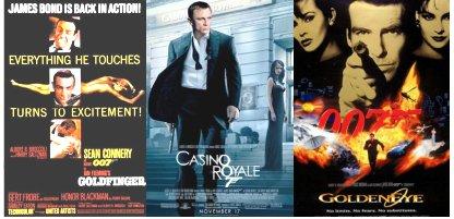 James Bond movie posters: Connery, Craig, Brosnan