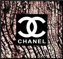 Chanel logo on tree bark