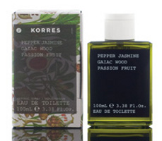 Korres Pepper, Jasmine, Gaiac wood oil, Passion fruit perfume