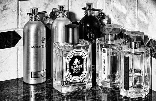 Perfumes on bathroom counter