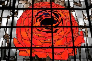 stained glass window, rose