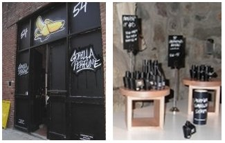 Gorilla Perfumes Gallery exhibit: exterior and perfume display