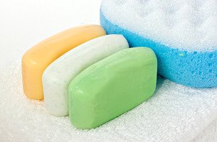 soap bars on towel