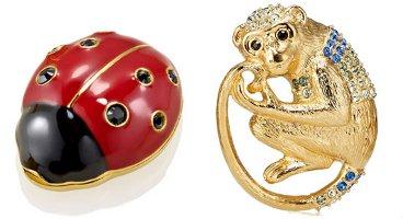 Estee Lauder solid perfume compacts, Ladybug and Monkey
