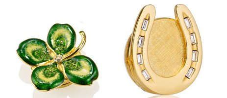 Estee Lauder solid perfume compacts, Four Leaf Clover and Horseshoe