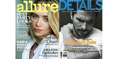 Allure and Details magazine covers, December 2013