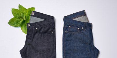 Naked Famous mint-scented jeans