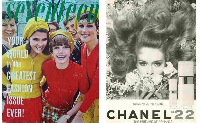 Seventeen mag, August 1967 cover and Chanel ad
