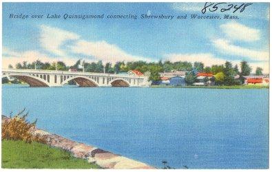 Bridge over Lake Quinsigamond connecting Shrewsbury and Worcester, Mass.