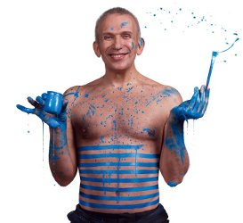Jean Paul Gaultier blue paint
