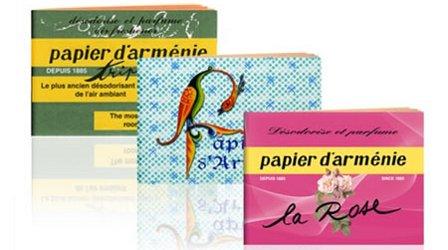 Papier d'Arménie burning papers