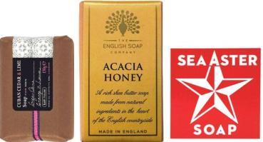 Bath House Cuban Cedar & Lime Soap + The English Soap Company Acacia Honey Soap + Swedish Dream Sea Aster Soap