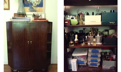Angie's perfume cabinet, interior and exterior