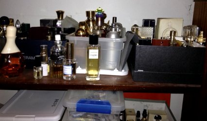 Shelf in Angie's perfume cabinet