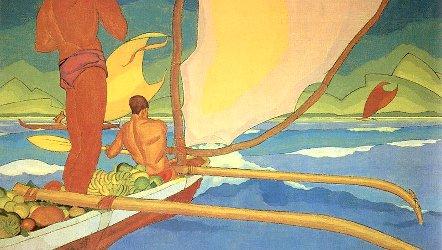 Men in an Outrigger Canoe