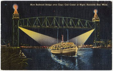 bridge over Cape Cod Canal at night