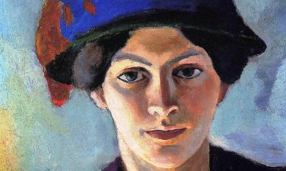 Portrait of the Artist's Wife with a Hat by August Macke