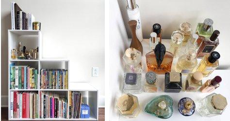 Arielle Weinberg step shelf, perfumes