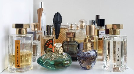 Arielle Weinberg, close up of perfume collection
