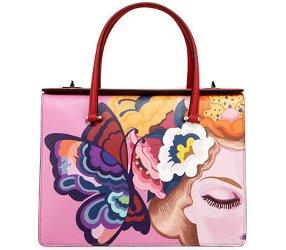 Prada Saffiano Print Butterfly Satchel Bag