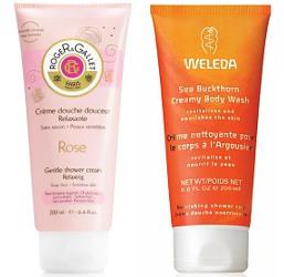 Roger & Gallet Rose, Weleda Sea Buckthorn cream shower gels