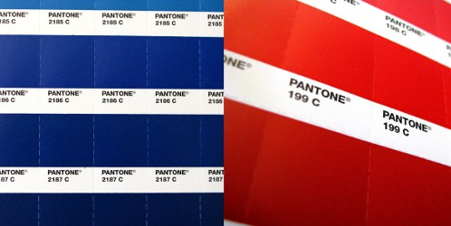 Pantone red and blue