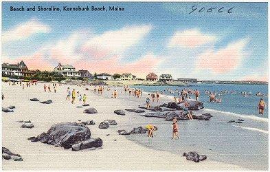 Kennebunk Beach vintage postcard