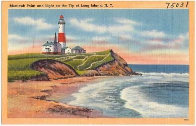 Montauk Point vintage postcard