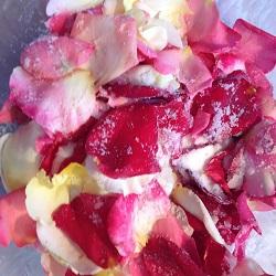 rose petals with sugar
