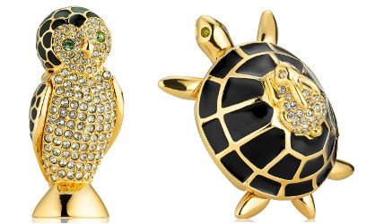 Estee Lauder Owl and Turtle solid compacts