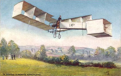 French postal card showing Santos Dumont flying the 14 bis