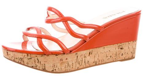 Prada orange patent wedge sandals