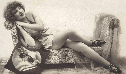 Model with Flapper Pillow and Pointy Shoes