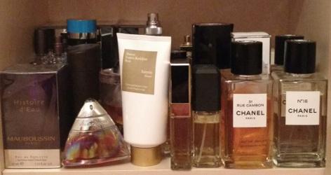 Erin's perfume shelves, bottom shelf
