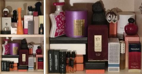 Erin's perfume shelves, top shelves