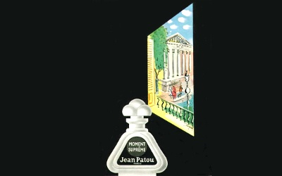Jean Patou Moment Suprême, vintage advert with background extended