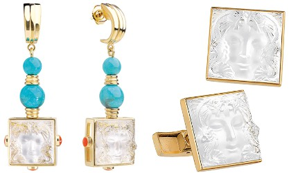 Lalique Aréthuse Earrings and Cufflinks