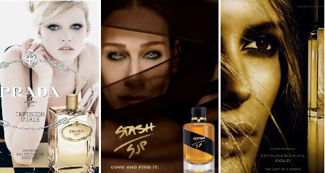 Prada Infusion d'Iris Absolue, Stash SJP and Donna Karan Gold adverts