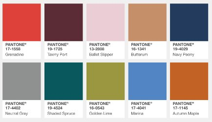 Pantone's Color Palette for New York for Fall 2017